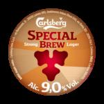 Etichetta della birra doppio malto Carlsberg special brew
