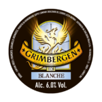 Etichetta della birra d'abbazia grimbergen blanche